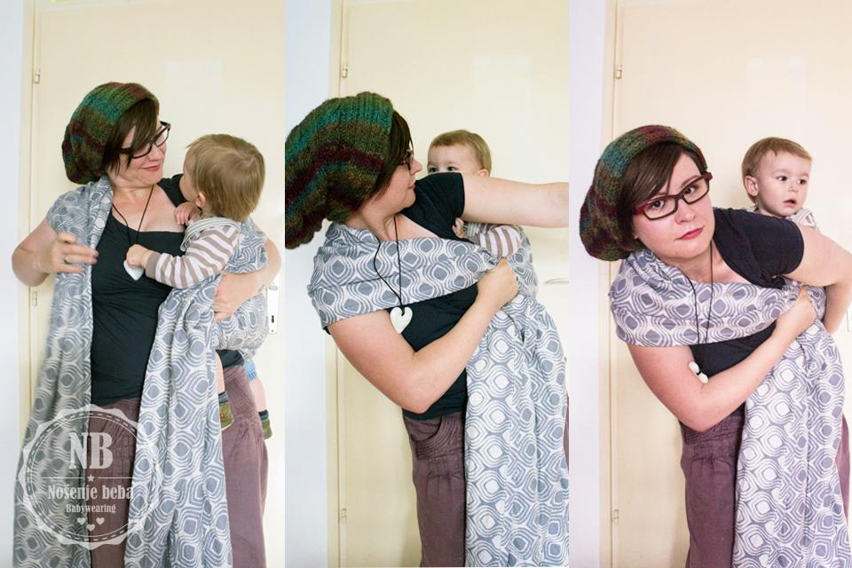 Postavljanje bebe na leđa u tkanoj marami prebacivanjem s boka (marama je Wauggl Bauggl)