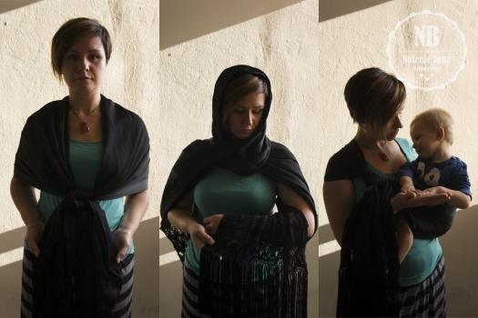 Meksički rebozo kao odjevni predmet i kao nosiljka: u tradicionalnom vezu s kliznim čvorom.