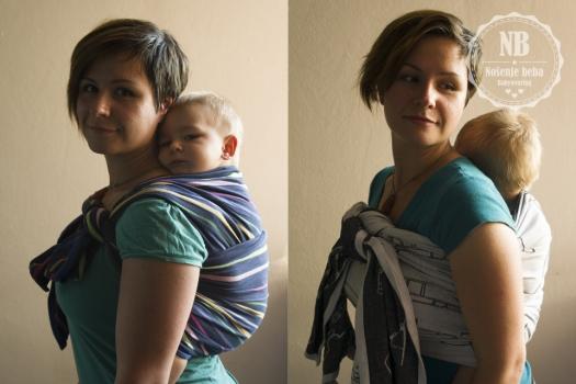 Kratki vezovi u tkanoj marami: moderni način nošenja tradicionalni vezova. Lijevo: Vez RRR s buleria završetkom u tkanoj marami vel. 1. Desno: torzični vez u tkanoj marami Milili u vel. 4.