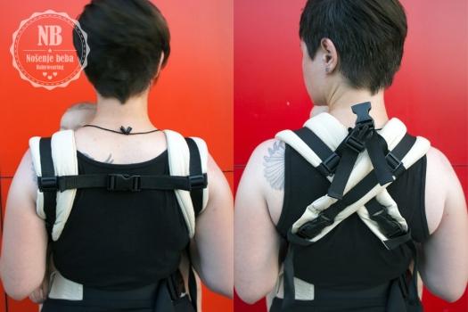 Lijevo: nošenje s paralelnim naramenicama kao što piše u uputama. Desno: nošenje prekriženih naramenica što je udobnije ali estetski manje privlačno, i nije navedeno u uputama.