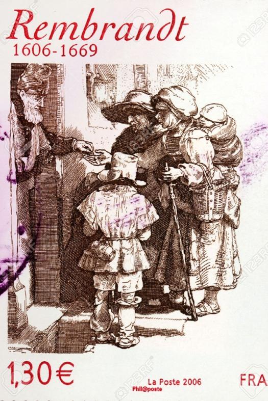 Nizozemski barokni slikar Rembrandt Harmenszoon van Rijn nacrtao je grafiku u kojoj prikazuje prosjakinju koja u šalu nosi bebu. Grafika je prikazana na francuskoj poštanskoj marki iz 2006.