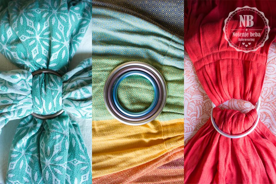 """Prsten za nošenje može zamijeniti čvor u vezu i najčešće dolazi u 3 veličine, a i najprepoznatljivija nosiljka povezujućeg roditeljstva- sling, """"ring sling"""" (nosiljka s prstenima) po prstenima je dobila ime. (Marama slijeva je Tarabeau Zova Heqet, sling u sredini je Girasol Gold Rainbow diamond weave, a sling desno je PixieKid Zalazak.)"""