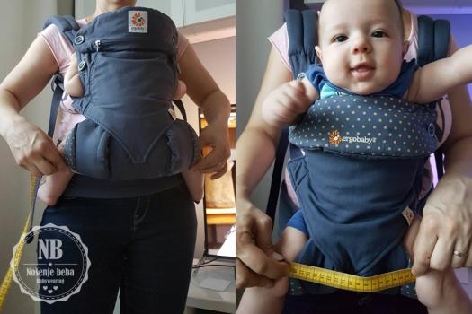 Mjerenje šire baze (za nošenje bebe prema nositelju) i uže baze (za nošenje bebe prema van).