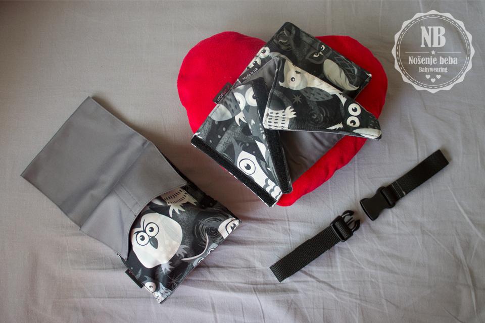 """LocoLobo Click&Go. """"Loco lobo"""" možemo prevesti kao """"Ludi vuk"""". :-p Na fotografiji su dodaci koji dolaze u paketu s nosiljkom."""
