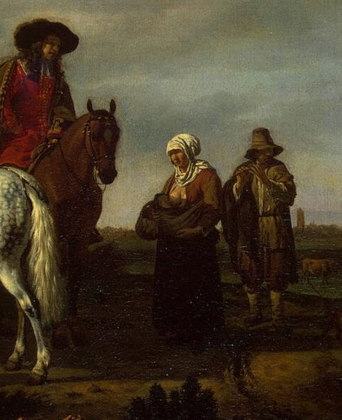 Nizozemski slikar Adriaen van de Velde (1636 - 1672) naslikao je prizor majke koja doji i nosi bebu