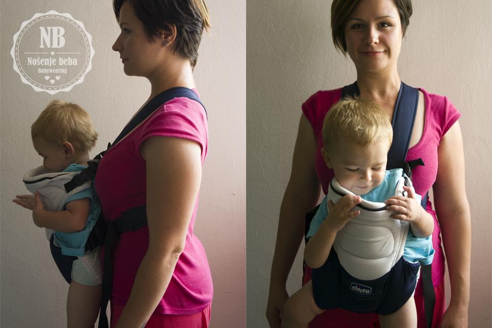 Nošenje u nosiljci s uskom bazom, bez pojasa: Težina pada na ramena i vuče nositelja iz ravnoteže prema naprijed. Ovo nije preporučljivi položaj za nošenje, niti je preporučljiva klokanica budući da nije udobna nositelju niti bebi ne omogućuje idealni položaj.