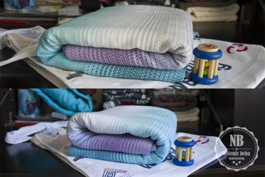 """Fotografije """"cvjetanja""""marame. Gore: Prije pranja i peglanja. Dolje: Nakon pranja i peglanja kad su se vlakna izduljila, opustila, tkanje je sjelo i cijela marama dobila na volumenu."""