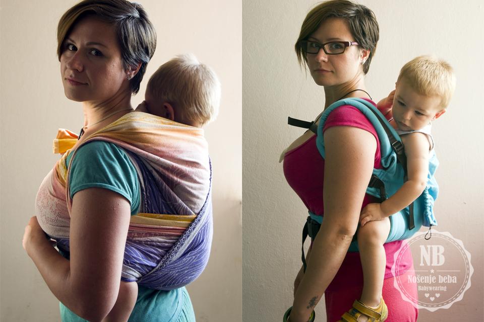 U određenim klokanicama moguće je nositi visoko skoro kao u tkanoj marami. Lijevo: Strojno tkana svilena marama Oscha Okinami Aegle vel. 4 u vezu WDH (Wendy's Double Hammock). Desno: meka oblikovana nosiljka Isara V3 FWC Toddler Turquoise (Full Wrap Conversion- nosiljka u potpunosti sašivena od tkane marame).
