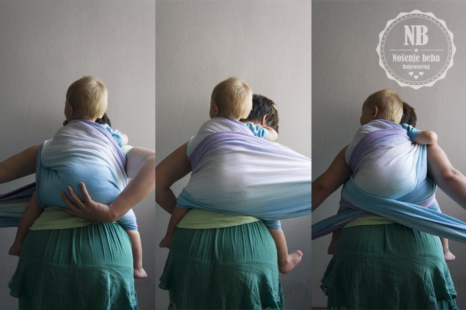 """Vez odličan za teške bebe: DH (op. a. kalk. """"dvostruka ležaljka"""") sastoji se od dva horizontalna sloja u kojima leži bebina guza. Oni prebacuju težinu na trup nositelja i približavaju bebu osi težišta, a """"križ"""" pod guzom osigurava vez i """"diže"""" bebu uvis."""