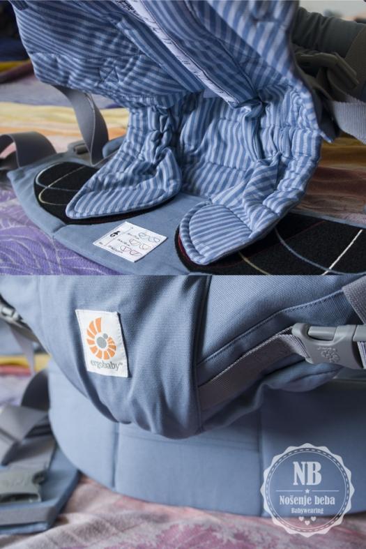Prilagođavanjem panela s vanjske i unutarnje strane oblikuje se nosiljka tako da sugerira duboko sjedanje bebe u panel.