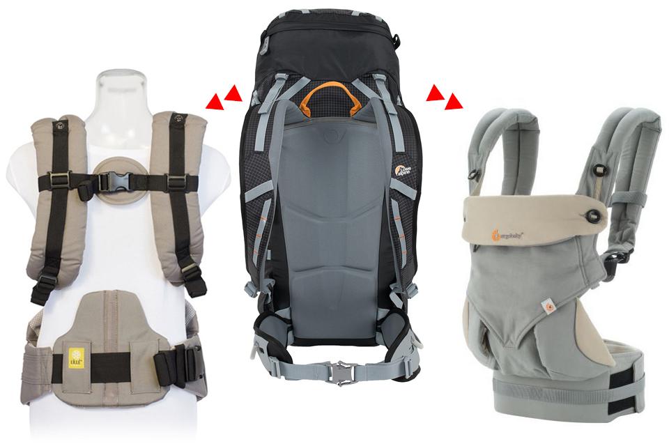 LÍLLÉbaby, planinarski ruksak i Ergo 360: proizvođači oblikovanih nosiljki nerijetko dobra rješenja radi udobnosti i odličnog raspoređivanja težine preuzimaju s planinarskih ruksaka.