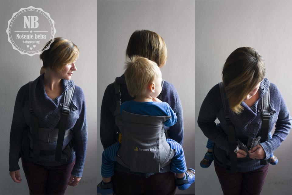 Nošenje na leđima je izuzetno udobno i djeluje stabilno usprkos premaloj bazi za mog uskoro 2-godišnjaka zbog gornjeg remena s lumbalnom potporom koji težinu raspoređuje na trbuh kada se nosi na leđima.