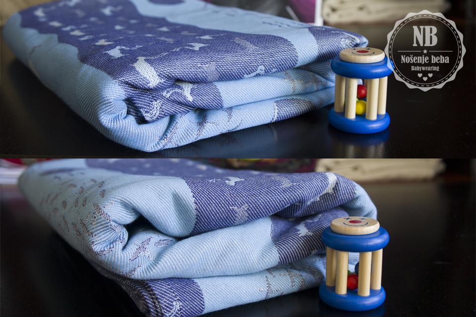 """Fotografije """"cvjetanja"""" tkane marame: prije pranja i peglanja (gore) i poslije kada su se vlakna izduljila i opustila i tkanje dobilo na volumenu. Kao što se može primjetiti Yakutat nije puno procvjetao."""