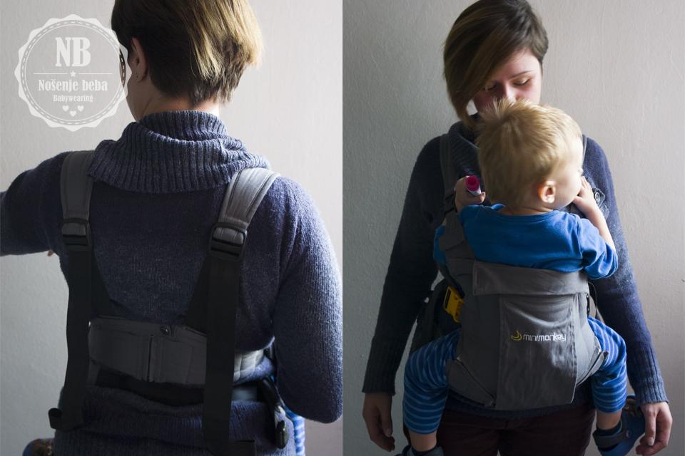 Gornji remen ravnomjerno steže panel nosiljke tako da bebi ne radi pritisak na leđa a nošenje zbog lumbalne potpore čini udobnim.