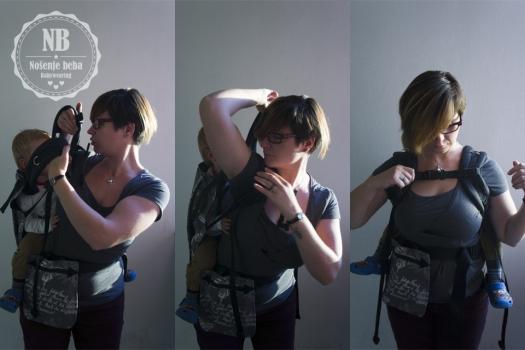 Nošenje na leđima. U ovoj nosiljci se lako položaj može mijenjati u hodu. Zbog ravnog i mekanog pojasa može se nositi visoko.