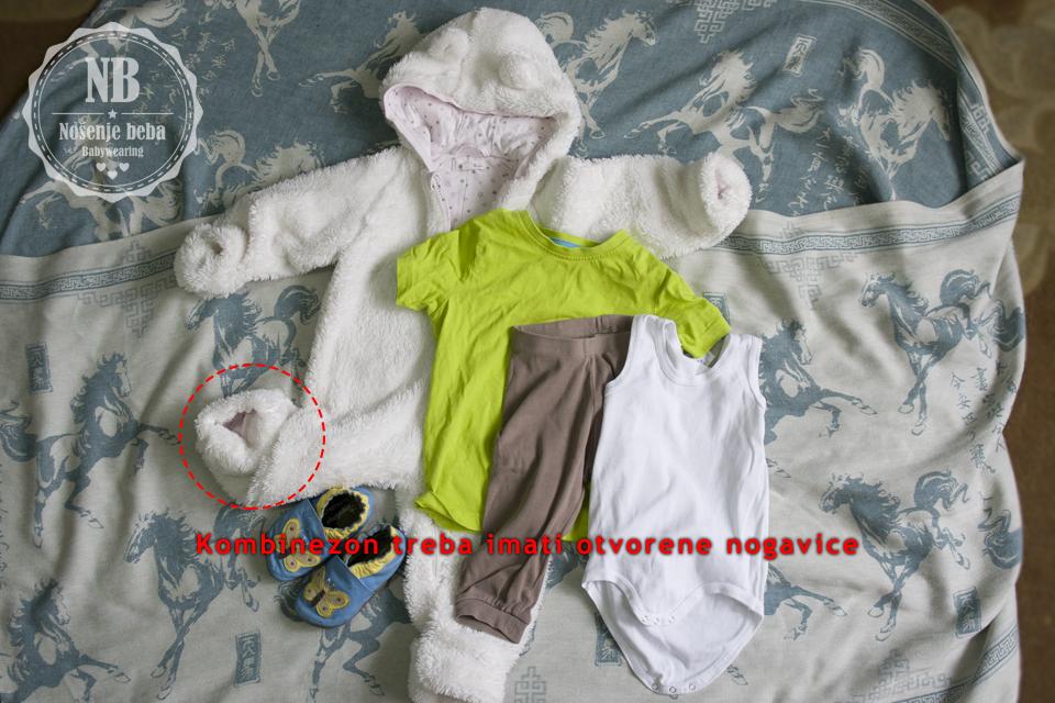 Ukoliko beba i vi idete negdje gdje ćete često izlaziti na hladnoću i vraćati se gdje je toplo, dobar je izbor da se oboje toplo odjenete ali da zadnji sloj dijelite: npr. veliki kardigan ili vestu.