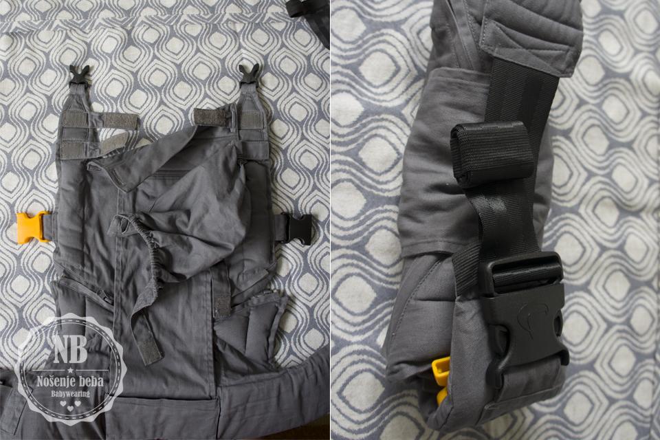 Lijevo: Kapuljača za spavanje i zaštitu od vjetra i sunca odvojiva je i pričvršćuje se čičkom za naramenice. Desno: Kopče su u 3 veličine na nosiljci, kvalitetne i lake za korištenje. Remen na pojasu traži malo navikavanja budući da je sklizak. Nalikuje na remene iz autosjedalica.