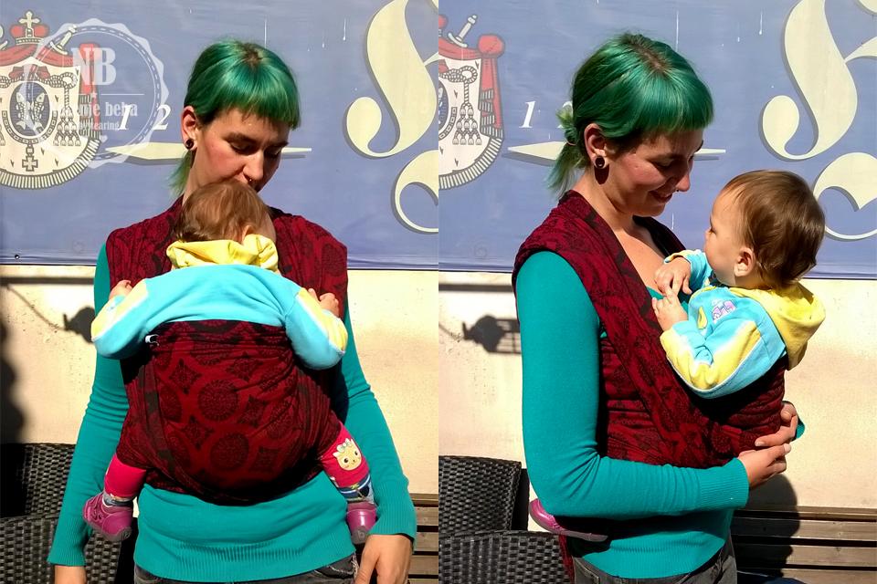 """Azra i mala Luna prvi put su u tkanoj marami. Za prvi vez odabrale su vez FWCC i Soul Slings Imperial tkanu maramu. Više im se sviđa """"kriva"""" crvena strana."""
