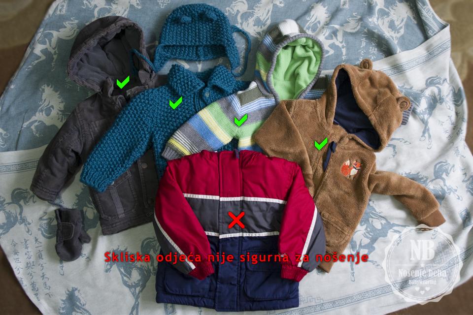 Sklisku odjeću treba izbjegavati osim ako to nije sloj odjeće koji ide i preko bebe i vas.