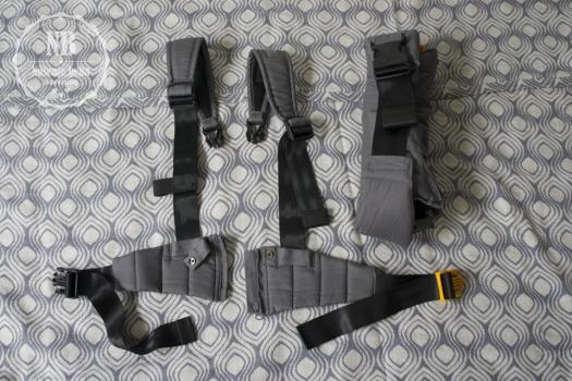 Zbog gornjeg pojasa s lumbalnom potporom nije moguće nositi visoko na leđima u ovoj nosiljci.
