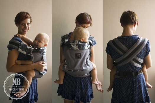 Prva hrvatska testirana nosiljka LocoLobo Click&Go sa starijim bebačem Josipom koji doji u nosiljci.