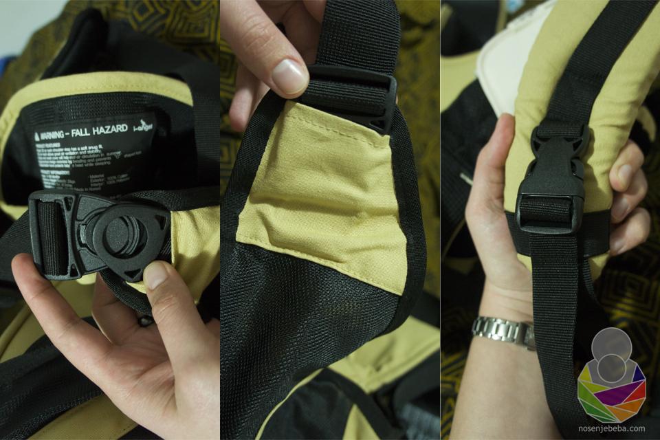 Sve kopče na nosiljkama su marke Duraflex. One na I-Angel Simple Hip Seat Carrier modelu su jednostavnije jer služe samo za pridržavanje starijih beba na boku (lijevo i sredina).