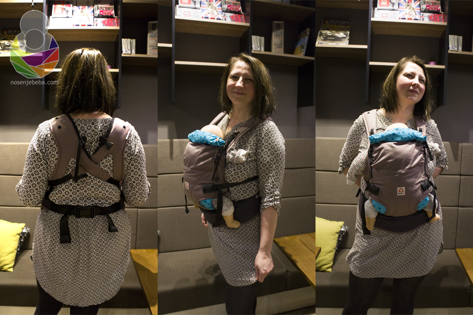 Nosiljka je smišljena za bebe od rođenja (3,5 kg) i tako da odgovara svakom obliku tijela. Na fotografijama je uvoznica nosiljke Ruckeli Dominika Matijaš (www.eko-butik.com) koja je visoka 177 cm i teži oko 90 kg.