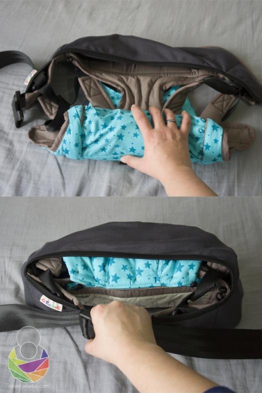 Cijeli Ruckeli može se zarolati u pojas i dok je na nositelju i nositi kao pojasnica i hip seat nosiljka kad se beba samostalno posjedne. Nevjerojatno je lagan za jednu oblikovanu nosiljku (650-790g!)