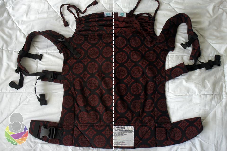 Prava i kriva strana nosiljke. Pojas je širok 7-10 cm a da se podesiti na duljinu 75-150 cm.
