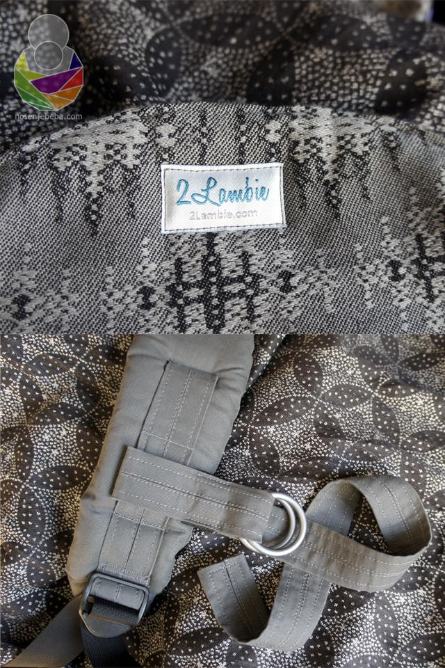 Jedno od prepoznatljivih obilježja 2Lambie onbuhima je i ručno šivani poprečni remenčić od kepera ili tkane marame s lijevanim aluminijskim prstenima za nošenje XS veličine.